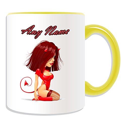 Personalisiertes Geschenk–Hot Devil Girl in rot Fancy Dress Tasse (Sexy Lady Design Thema, Farbe Optionen)–Nachricht/Name auf Ihrem Einzigartig–Ohr Schwanz Fancy Kleid Kostüm, keramik, Gelb