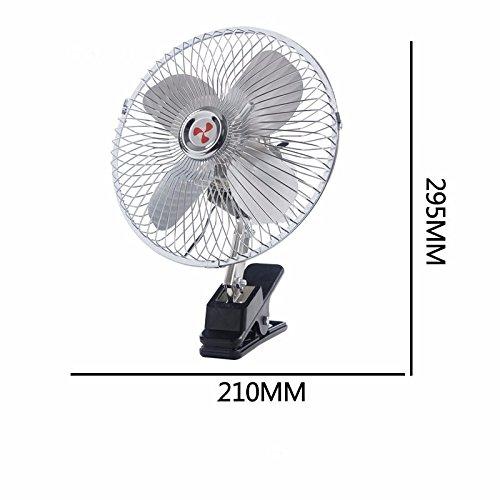 JISHUQICHEFUWU Fan de Voiture / 12V24V / Voiture avec Un Petit Ventilateur/Peut être Rotation/Vitesse 360 ??°, 8 Pouces Argent 12V