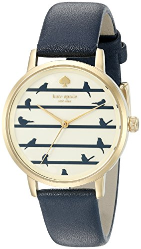 Kate Spade Women's 34mm Blue Leather Band Gold Tone Steel Case Quartz Beige Dial Analog Watch KSW1022