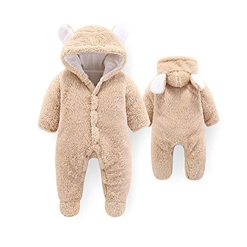 Baby Strampelanzug mit Füssen, Mütze für Jungen und Mädchen, mit Kapuze, für 0-12 Monate, Halloween, Cosplay-Kostüm 0-3 Monate khaki