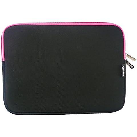 Emartbuy® Nero / Pink Impermeabile Morbido Neoprene Custodia Sleeve Case Cover Con Pink Interno & Cerniera Lampo Adatta Per Dell Latitude 14 E7470 Laptop 14 Pollice ( 13-14 Pollice Notebook )