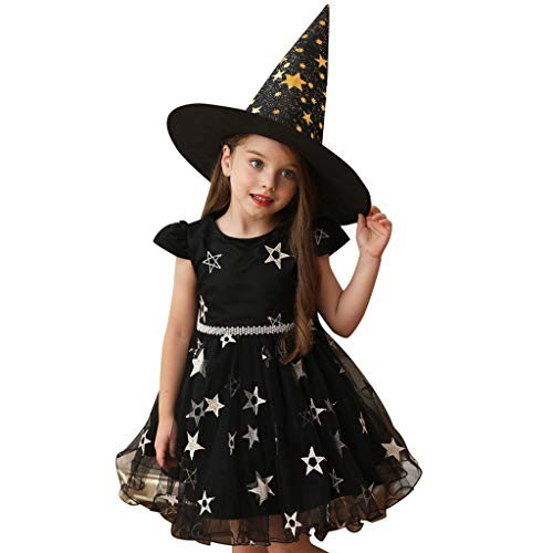WFRAU Baby Mädchen Halloween Formelle Kleidung,Kleinkind 2 Stück Blumenstern Muster Druck Prinzessinenkleid Tüll Kleid+Hut Outfits Set,Kinder Jumper Overall Blusen Tops Hosen Jacke Leistungstuch