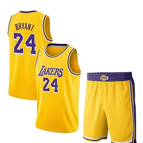 Kobe Bryant # 24 Herren Basketball Jersey - NBA Lakers, New Fabric Embroidered Swingman Jersey und Shorts Sleevless T Shirts Yellow-S