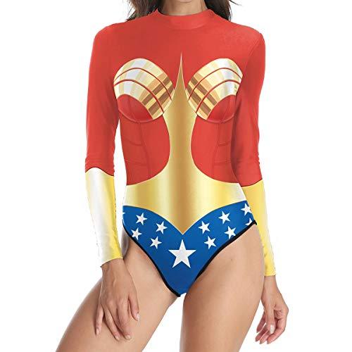 QQWE Wonder Woman Cosplay Schwimmen Kostüm Super Hero Printing Bademode Frauen Badeanzug Langarm Bauch Kontrolle Strand - Übergröße Wonder Woman Kostüm