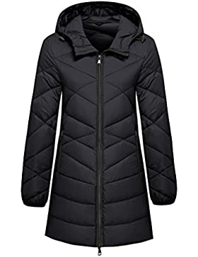 Wantdo Mujer Capucha Empacable Long Ultraligera Down Chaqueta