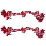 Sungrow 2 Twisted Triple Annodato corda osso per cani(50,8cm)di resistente cotone-coloratissimi Chew gioca giocattoli,adatto anche per medie e grandi cani razza:pulisce Pup da denti durante il gioco
