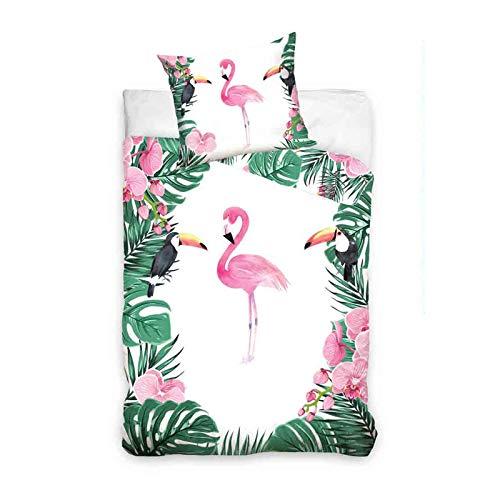 Carbotex Bettwäsche Flamingo NL187021B Baumwolle 140x200 cm + 70x80 cm