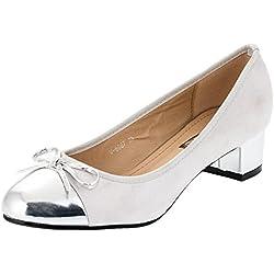 Damen Pumps High Heels Wildlederimitat mit besonderen Akzenten (40, #833si Silber)