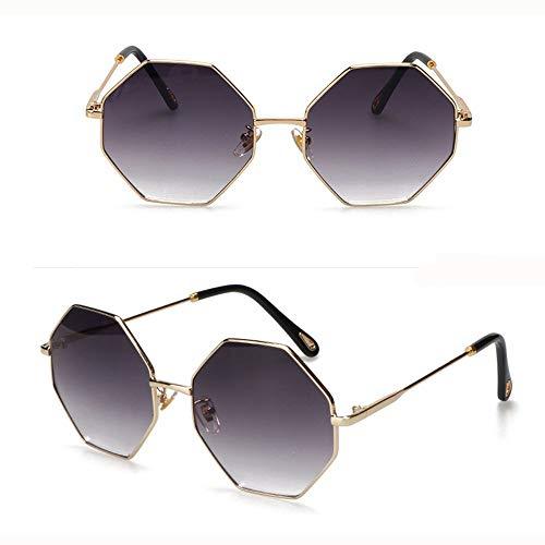 YUHANGH Mode Sonnenbrillen Frauen Kleinen Rahmen Polygon Klare Linse Sonnenbrille Männer Vintage Sonnenbrille Hexagon Metallrahmen
