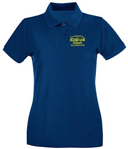 T-Shirtshock - Polo pour femme BEER0221 Funny Bartender T-shirt Bleu Navy