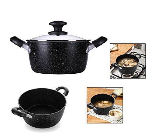 non Collant Cocotte Pot24 cm (24,4 cm) avec couvercle en verre trempé de pâtes soupes stew pot à soupe avec poignée Convient pour plaque à gaz en céramique Induction