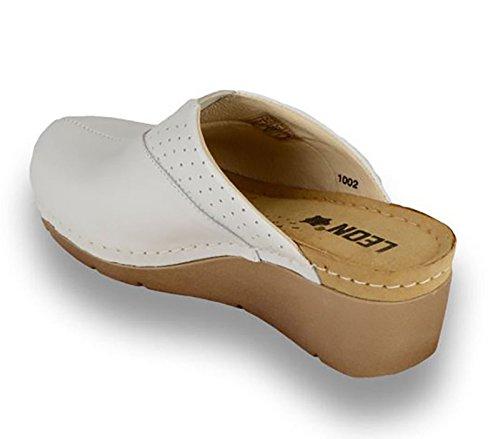 LEON 1002 Komfortschuhe Lederschuhe Pantolette Clog Damen Weiß