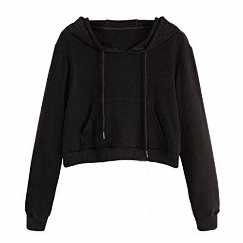 Amlaiworld herbst damen sweatshirt kurz bauchfrei Kapuzenpullover Freizeit tops mode einfarbig pullis mit Tasche (S, Schwarz) (Kurze Ärmel Pullover Lange)