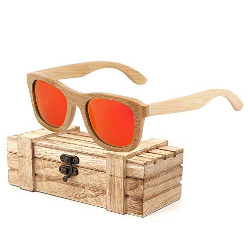 Dough.Q Sunglasses Bamboo Glasses Polarized UV-Resistant Vintage Brillen Schwimmende Sonnenbrille Bambus Holz Sunglasses