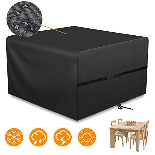 gikpal copertura per mobili da giardino, oxford poliestere copertura tavolo da giardino impermeabile antipolvere anti-uv rettangolari copertura 125 * 125 * 74cm