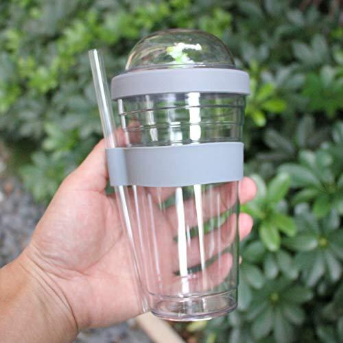 scldream Kinder Sippy Cups kreative Erwachsene plastikbecher Kinder Sippy Cups einfacher saft für männer und Frauen tragbar, grau, 480ml - Saft Sippy Cup