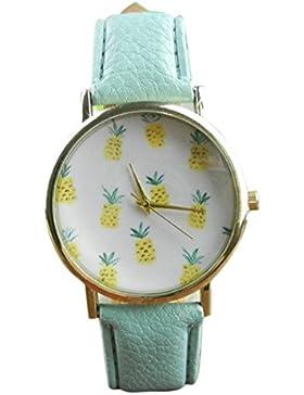Sunnywill Neue Mode Ananas Muster Leder Band Analog Quarz Vogue Armbanduhr für Frauen Mädchen Damen