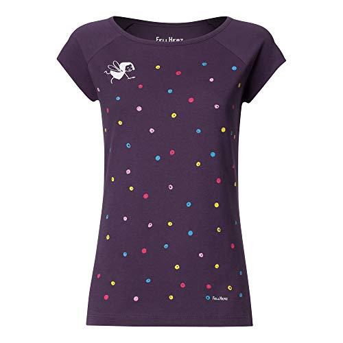 Lila Womens Cap Sleeve T-shirt (FellHerz Konfetti violett - XL - süßes Damen T-Shirt aus 100% Bio-Baumwolle Organic Cotton fair nachhaltig öko Mädchen Fee Punkte Malen alternativ)