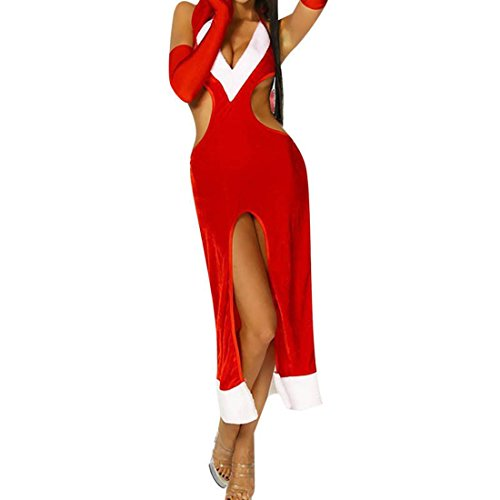 Womens Weihnachten Sexy Kleid Nachthemd Nachtclub Party Frau Santa Fancy Velvet Kleid (Kostüme Velvet Kleid Gothic)