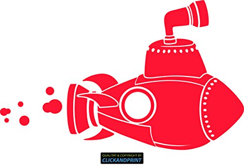 CLICKANDPRINT Aufkleber » Yellow Submarine, 130x80,1cm, Neon Rot • Dekoaufkleber / Autoaufkleber / Sticker / Decal / Vinyl (Beatles-rotes Vinyl)
