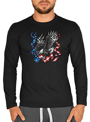 Usa Flagge Adler Motiv Longsleeve: Eagle -- Herren Langarmshirt / schwarz Schwarz