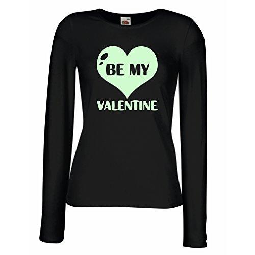 Weibliche langen Ärmeln T-Shirt Sei mein Valentinsschatz, Zitate und Sprüche über Liebe super Geschenk (X-Large Schwarz Fluoreszierend)