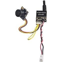 GOTOQOMO G28 5.8GHz 25mW 40CH FPV Transmetteur et Micro Caméra avec Interface OSD pour Mini Drone/RC Voiture/RC Bateau