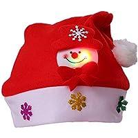 HEJIANGTAO Muñeco de Nieve para Adultos Sombrero de Navidad Dibujos Animados Sombreros Luminosos Decoraciones para guardería, Modelos de muñeco de Nieve (Adulto con luz)
