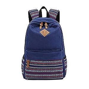 4112Xp8QKzL. SS300  - Danny®lona mochila Vintage colorida banda escuela para jóvenes adolescentes y niñas ligero lindo impermeable Casual mochila tiene 14 pulgadas Laptop escuela bolso mochila Azul