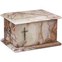 Hermosa cesta de piedra natural Onyx funeral urna para cenizas adultas Cremación urna memorial (st3c)
