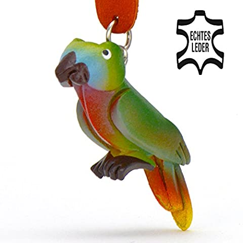 Papagei Peter - Spielzeug Schlüsselanhänger Figur aus Leder in der Kategorie Kuscheltier / Stofftier von Monkimau in grün - Dein bester Freund. Immer dabei! - 5x2x4cm LxBxH klein, jeweils 1 Stück