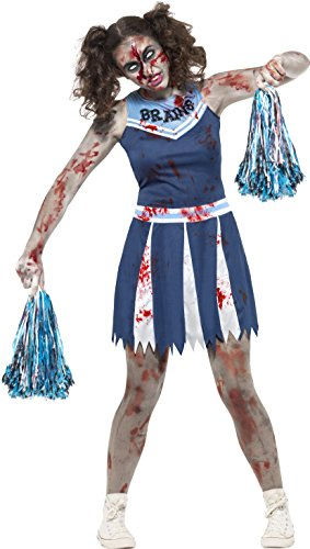 Smiffy's 45614XS - Zombie Cheerleader Kostüm mit Dress und Pom Poms