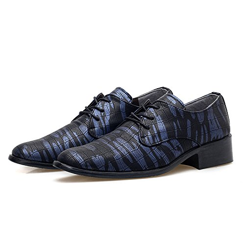 Men's Italian Sapatos Masculinos Leather Oxford Shoes 099 black blue