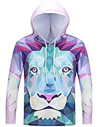 BUSIM Men's Long Sleeved Sweater Autumn Winter Lion Head Print Casual Slim Hooded Pullover Sweatshirt Jacket Jacket... - B07HFB73N3