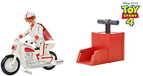 Mattel GFB55 - Disney Pixar Toy Story 4 Stunt Motorradfahrer Duke Caboom Figur 17 cm mit Motorrad mit Rückzugsstarter, Spielzeug ab 3 Jahre