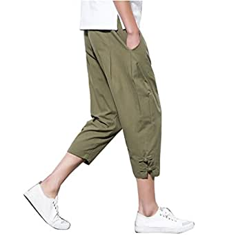 2b3edf4659e Image Unavailable. Image not available for. Colour  Men s Chinese Style  Casual Linen Cropped Pants Plus Size Vintage Loose Harem Trousers ...
