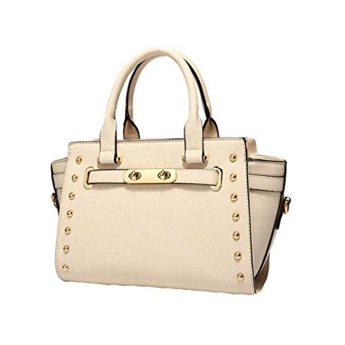 Damen Handtaschen Nieten Cross - Stil Single - Schulter Tasche Freizeit - Paket Leder Hardware Beige