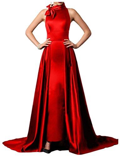 Sunvary Robe de Soiree Robe de Ceremonie Longue A-ligne Licou Elegante Noeud en Satin Elastique Rouge