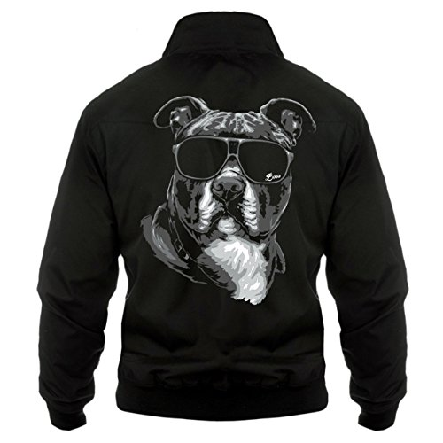 Uomini e uomo giacca Harrington American Staffordshire Terrier Summer (con retro stampa) nero XXXXXL