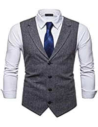 YCUEUST Homme Tweed Single-Breasted Classique Gilets Parti Formal Waistcoat Suit Vest