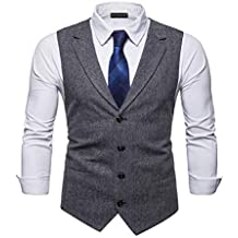 YCUEUST Elegante Chaleco Hombre Casual Negocio Ceremonia Boda Slim Fit Traje  Blazers a9f4693db43f
