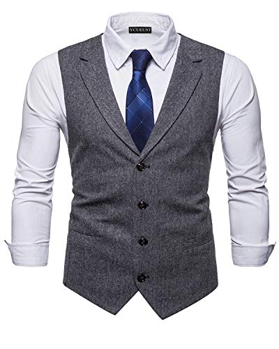 YCUEUST Homme Tweed Single-Breasted Classique Gilets Parti Formal Waistcoat Suit Vest Noir Larg