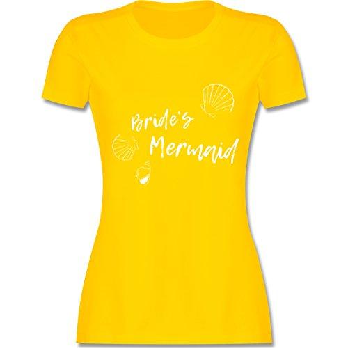 Shirtracer JGA Junggesellinnenabschied - Brides Mermaid - Damen T-Shirt Rundhals Gelb
