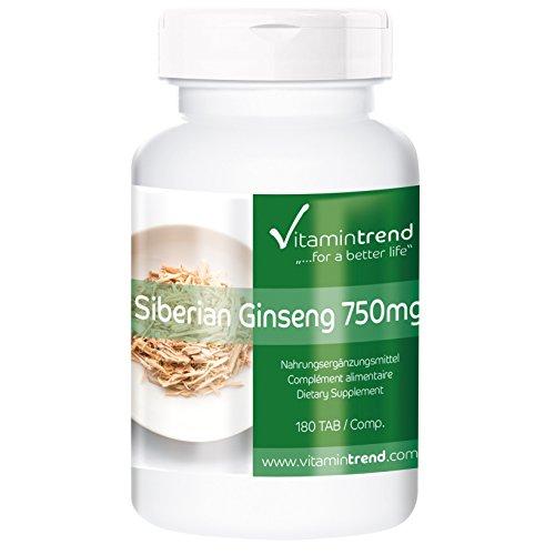 Ginseng Siberiano 750 mg – comprimidos veganos naturales – 180 tabletas de Ginseng - para el sistema inmunológico - revitalizante