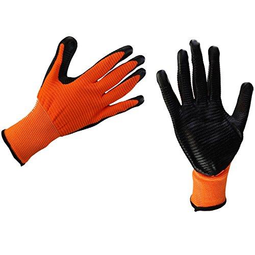 New Mehrzweck-Gummi beschichtete Builders Garten Arbeit Latex Grab & Grip Handschuhe, Orange (Arbeits-handschuhe Gummi Beschichtete)