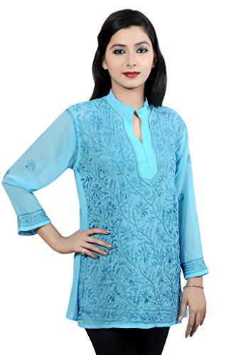 ACC Tunika Indische Chikan Kurtis für Frauen Party tragen Georgette Top Bluse Shirt gestickt (Georgette-tunika)