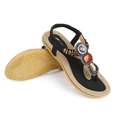 Sandales bohémienne Femme pour plage voyage Noir