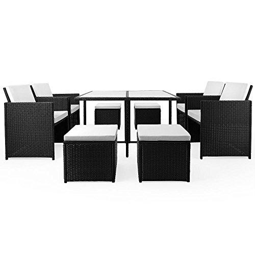 LD Poly Rattan Sitzgruppe Gartengarnitur Essgruppe Gartenmöbel Lounge Cube
