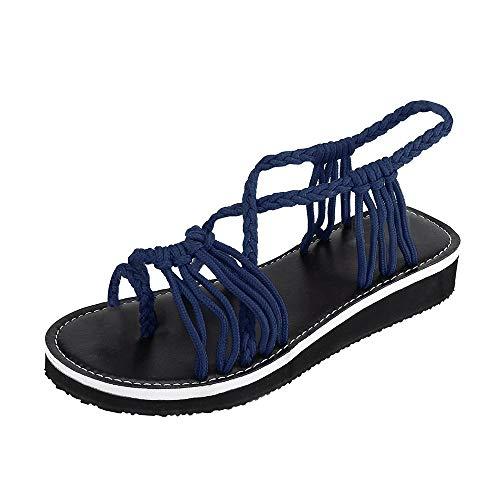 lops Sandalen Sommer Rom Stil Schuhe Nylon Seil Gewebt Gurt Mode Knöchel Slip-On Outdoor Strand Flache Schuhe Hausschuhe ()