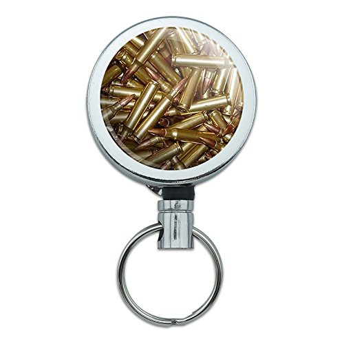 Metal Retractable Reel ID Badge Key Holder with Belt Clip Guns Weapons Military